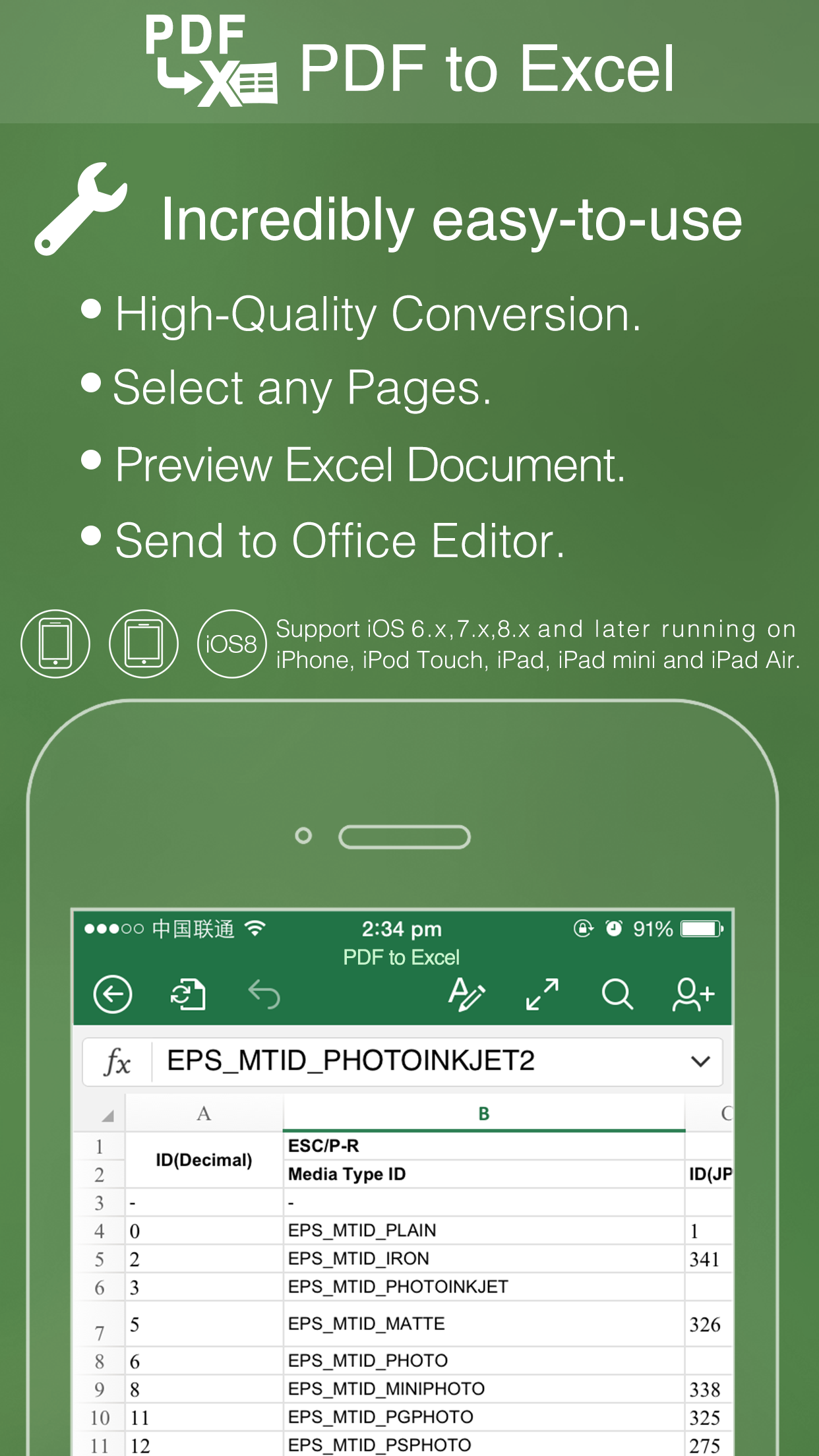 how to put excel document on iphone