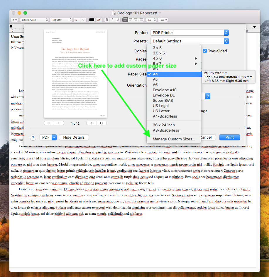 How to Print to PDF with custom size paper, such as A1 and A2