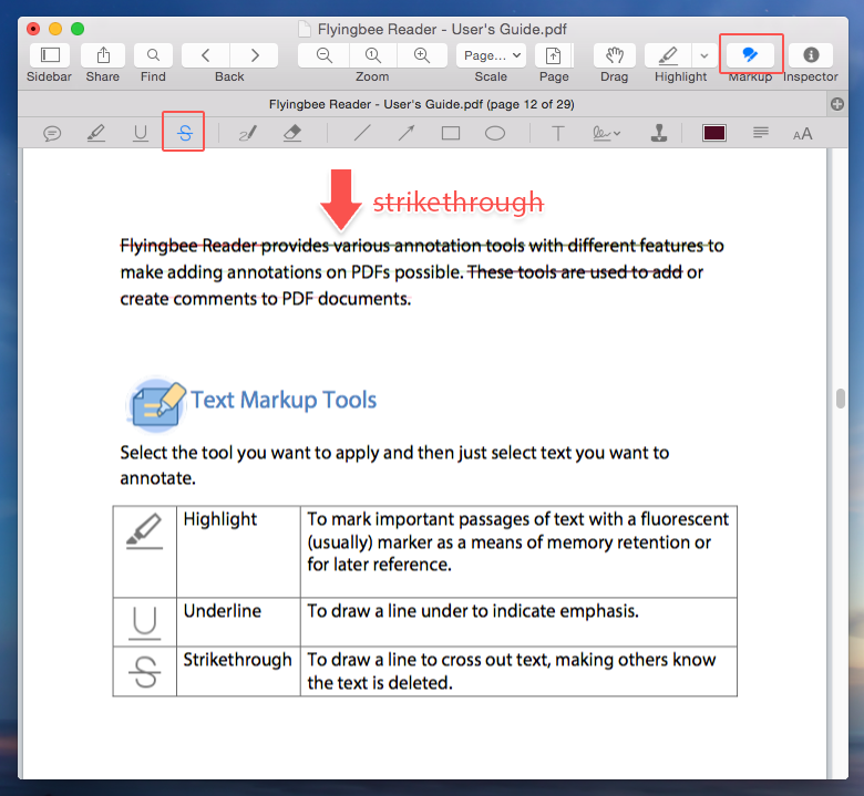 How to strikethrough text in PDF file with Flyingbee Reader