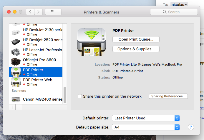 How to print to the PDF Printer on my other mac computer